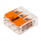 Image for Wago 3 Way Compact Lever Connector Clear/Orange Box of 50 - 221-413