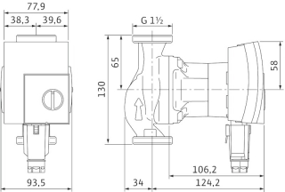 Wilo Yonos tECHNICAL dRAWING