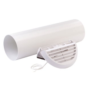 Xpelair Simply Silent 100mm Easy-Fit Round White Wall Kit