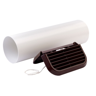 Xpelair Simply Silent 100mm Easy-Fit Straight Brown Wall Kit