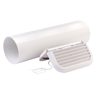 Xpelair Simply Silent 100mm Easy-Fit Straight White Wall Kit