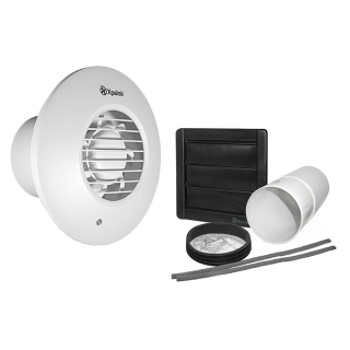 Xpelair Simply Silent Standard Round 100mm SELV Bathroom Fan with Humidstat & Timer & Wall Kit